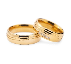 "Golden wedding rings with diamonds ""VKA 128"""