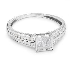 "Engagement ring with diamonds ""Princesses 6"""