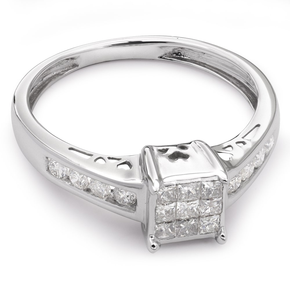 """Engagement ring with diamonds """"Princesses 13"""""""