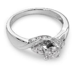 """Sužadėtuvių žiedas su Briliantu """"Briliantinė Gėlė 14"""""""