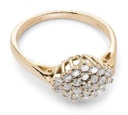 """Sužadėtuvių žiedas su Deimantais """"Briliantinė Gėlė 15"""""""