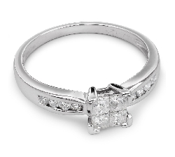 "Engagement ring with diamonds ""Princesses 20"""