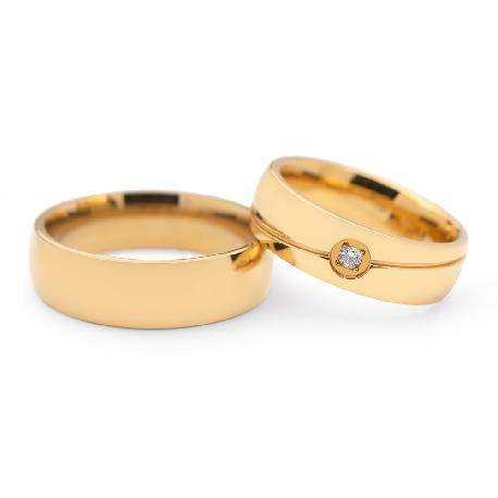 "Golden wedding rings with diamonds ""VKA 120"""