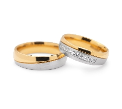 "Golden wedding rings with diamonds ""VKA 110"""