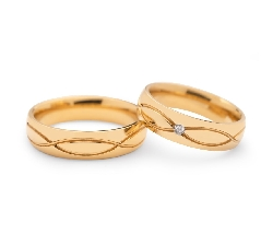 "Golden wedding rings with diamonds ""VKA 098"""