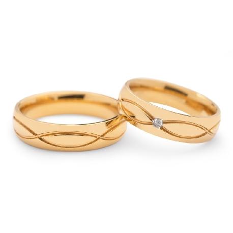 "Golden wedding rings with diamonds ""VKA 098"""