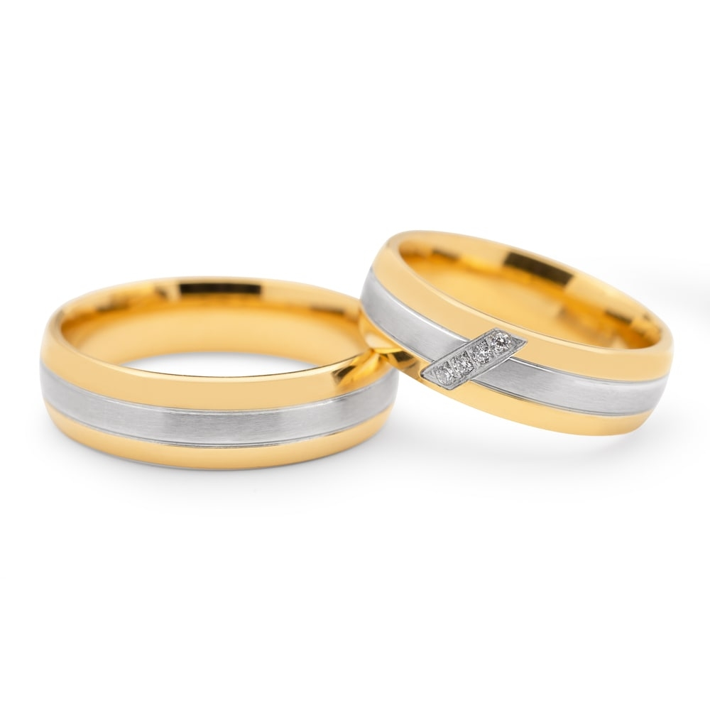 "Golden wedding rings with diamonds ""VKA 096"""