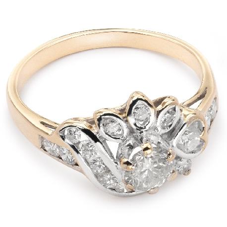 """Teemantidega kuldsõrmus """"Kroon 9"""""""
