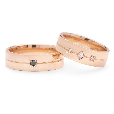 "Golden wedding rings with diamonds ""VMA 136-2"""