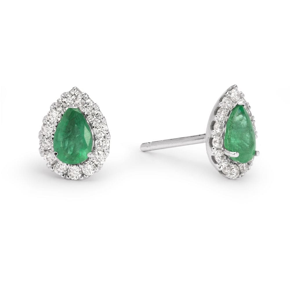 """Gold earrings with gemstones """"Emerald 19"""""""