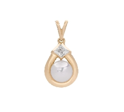 "Gold pendant with gemstones ""Pearl 77"""