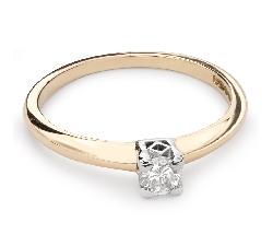 """Sužadėtuvių žiedas su Briliantu """"Tvirtybė 80"""""""