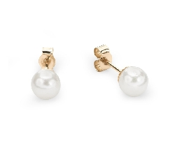 "Gold earrings with gemstones ""Pearl 5"""
