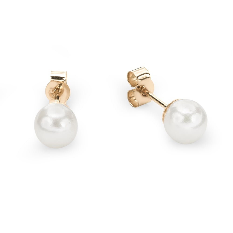 "Gold earrings with gemstones ""Pearl 5"""