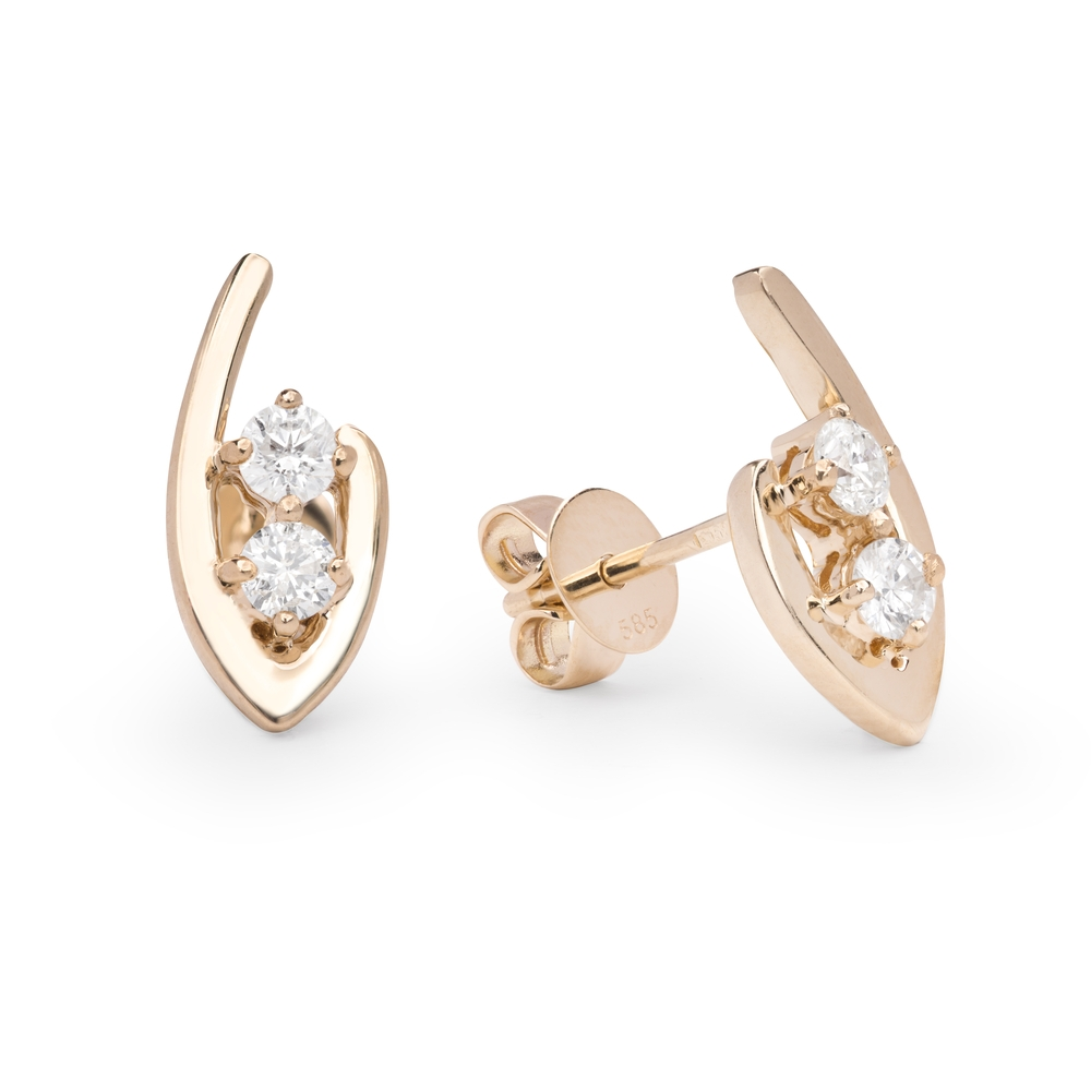 """Gold earrings with brilliants """"Classic 32"""""""