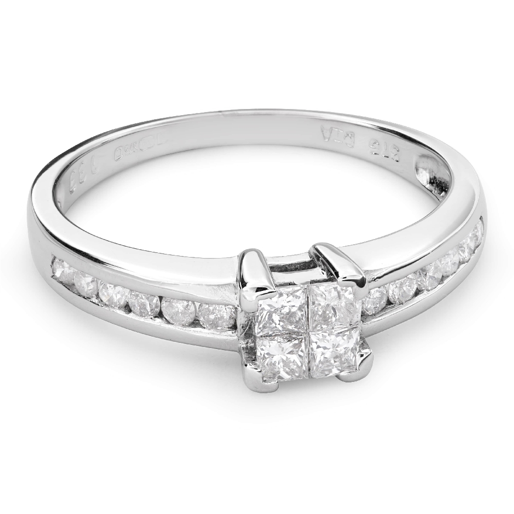 """Engagement ring with diamonds """"Princesses 44"""""""
