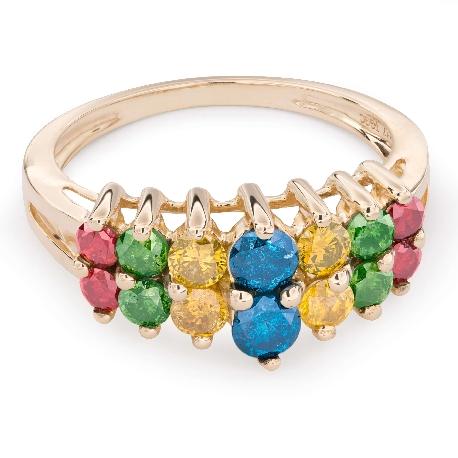 """Teemantidega kuldsõrmus """"Värvid 41"""""""