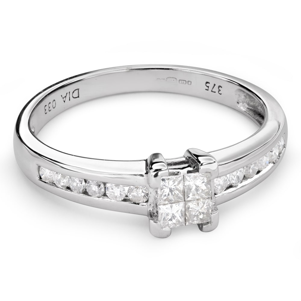 """Engagement ring with diamonds """"Princesses 49"""""""