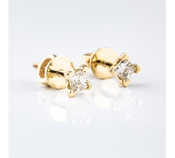 "Gold earrings with diamonds ""Princesses 314"""