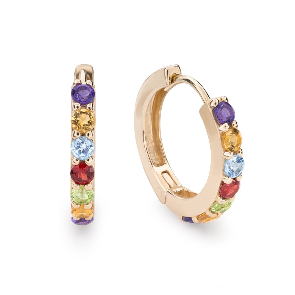 "Gold earrings with gemstones ""Colors 73"""