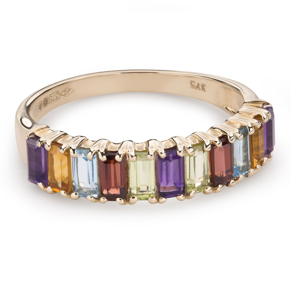 """Gold ring with gemstones """"Colors 77"""""""