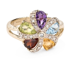 """Gold ring with gemstones """"Colors 86"""""""